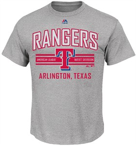 MLB Texas Rangers Grey 1st to 3rd Short Sleeve T Shirt by Majestic