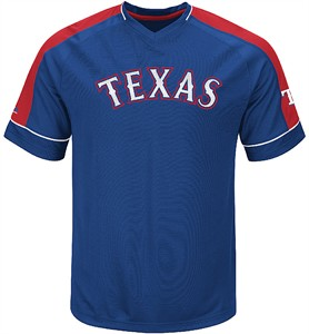 MLB Texas Rangers Mens Lead Hitter 2 Synthetic V Neck Baseball Jersey by Majestic