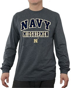 Navy Midshipmen Charcoal Adult Flanker Long Sleeve Tee Shirt by E5