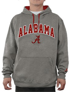 NCAA Alabama Crimson Tide Grey Embroidered College Classic Hoodie Sweatshirt