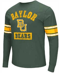 NCAA Baylor Bears Green Meteor Long Sleeve T Shirt
