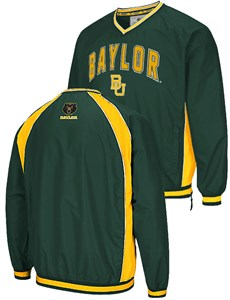 NCAA Baylor Bears Mens Green Embroidered Fair Catch V Neck Pullover Jacket