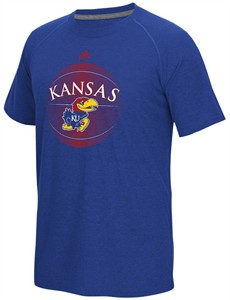 NCAA Kansas Jayhawks Adidas High Scorer Climalite Synthetic Short Sleeve Shirt
