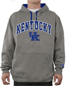 NCAA Kentucky Wildcats Grey Embroidered College Classic Hoodie Sweatshirt