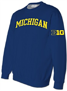 NCAA Michigan Wolverines Mens Blue Embroidered Crew Sweatshirt