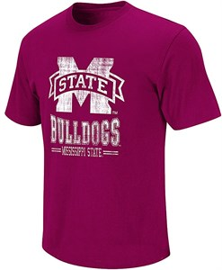 NCAA Mississippi State Bulldogs Maroon Spiral Short Sleeve T Shirt by Colosseum