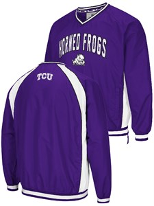 NCAA TCU Horned Frogs Mens Purple Embroidered Fair Catch V Neck Pullover Jacket