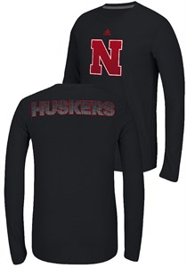 Nebraska Cornhuskers Black Adidas Ultimate Sideline Post 2-Sided Climalite Long Sleeve T Shirt