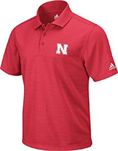 Nebraska Cornhuskers Red Arch Logo Men's Climalite Polo Shirt by Adidas