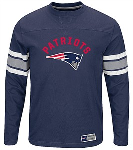 New England Patriots Adult Navy Power Hit 2 Long Sleeve T Shirt
