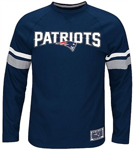 New England Patriots Mens Blue Blitz Long Sleeve Tee Shirt