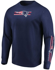 New England Patriots Mens Navy Dual Threat Long Sleeve T Shirt