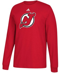 new product 41c1a 4ff5a New Jersey Devils Mens Adidas Red Primary Logo Long Sleeve T ...
