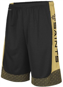New Orleans Saints Mens Black Strong Will Synthetic Shorts