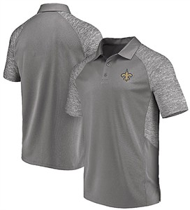 New Orleans Saints Mens Grey Majestic Reflective Logo Synthetic Polo Shirt