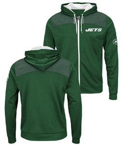 a34c7f400 New York Jets Mens Green Game Elite Full Zip Synthetic Poly Hoodie  Sweatshirt
