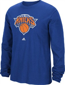New York Knicks Blue Primary Logo Long Sleeve Tee Shirt by Adidas