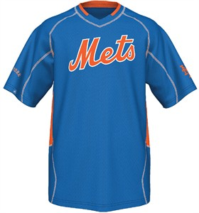 New York Mets MLB Fast Action Synthetic V Neck Jersey by Majestic