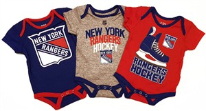 New York Rangers Infant Hat Trick3 Pack Creeper Bodysuit Set