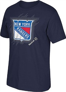New York Rangers Navy Frost Logo Short Sleeve T Shirt by Reebok