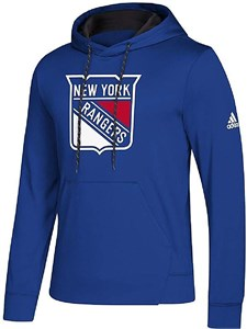 New York Rangers Royal Adidas Synthetic Poly Finished Hockey Hoodie Sweatshirt