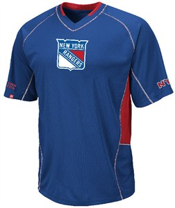 New York Rangers Sweep Check Synthetic V Neck Jersey by Majestic