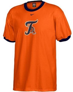 MLB Detroit Tigers Mens Short Sleeve Ringer Tee Shirt By Nike on Sale