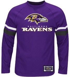 NFL Baltimore Ravens Purple Power Hit Long Sleeve T Shirt by Majestic