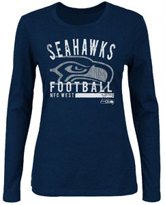 NFL Ladies Seattle Seahawks Navy Illegal Formation IV Long Sleeve Shirt