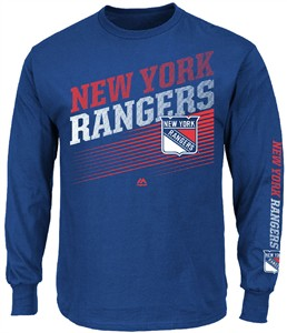 NHL New York Rangers Blue Building Strategy Long Sleeve T Shirt By Majestic