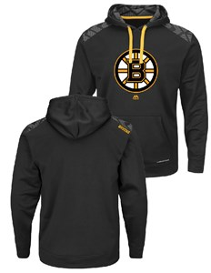 a6637bef900 NHL Boston Bruins Black Armor Pullover Synthetic Thermabase Hoodie by  Majestic