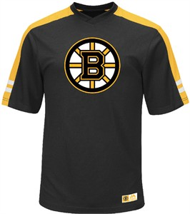 NHL Boston Bruins Black Quick Play Synthetic V Neck Shirt by Majestic