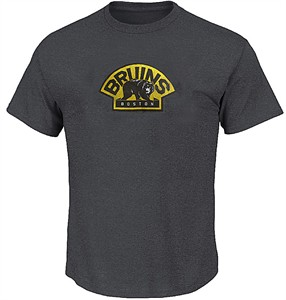 NHL Boston Bruins Charcoal Vintage Logo T Shirt by Majestic