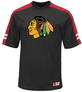 NHL Chicago Blackhawks black Quick Play Synthetic V Neck Shirt by Majestic