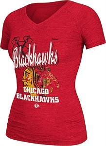 NHL Ladies Chicago Blackhawks Red Heather Team Collage Shirt by Reebok