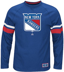 NHL New York Rangers Deep Royal Power Hit Long Sleeve Tee Shirt by Majestic
