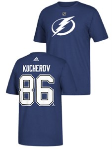 Nikita Kucherov Tampa Bay Lightning Mens Adidas Blue Short Sleeve T Shirt