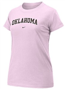 Oklahoma Sooners Women's Pink  Arch Short Sleeve T Shirt By Nike