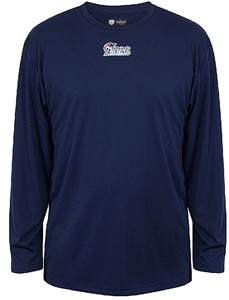 New England Patriots Navy Shield Gear Performance Basic Long Sleeve T Shirt
