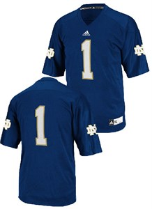 Notre Dame Fighting Irish #1 Youth Performance Football Jersey by Adidas