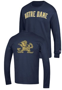 Notre Dame Fighting Irish Blue 2 Sided Arched Long Sleeve T Shirt by Champion on Sale