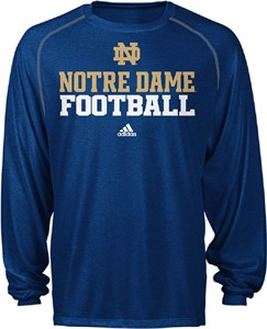 Notre Dame Fighting Irish Blue Synthetic Climalite Football II Long Sleeve Shirt by Adidas on Sale