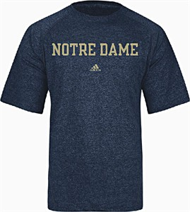 Notre Dame Fighting Irish Heather Blue Climalite School Block Short Sleeve Shirt by Adidas on Sale