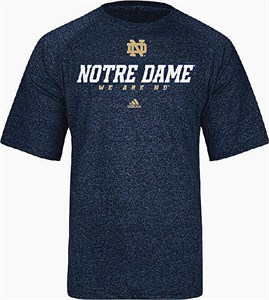 Notre Dame Fighting Irish Heather Blue Climalite Slogan Sidelines Top by Adidas