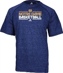 Notre Dame Fighting Irish Heather Blue Dribbler Short Sleeve Climalite Basketball Practice Shirt by Adidas on Sale