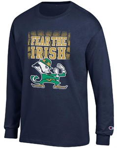 Notre Dame Fighting Irish Navy Champion Fear The Irish Long Sleeve T Shirt on Sale