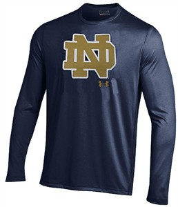 Notre Dame Fighting Irish Navy EndZone Under Armour Long Sleeve Heatgear T Shirt on Sale