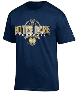 Notre Dame Fighting Irish Navy Football Short Sleeve T Shirt by Champion on Sale