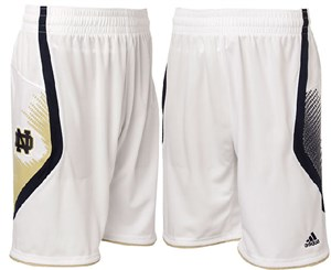 Notre Dame Fighting Irish New White Point Guard Replica Basketball Shorts by Adidas