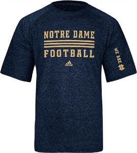 Notre Dame Fighting Irish Mens Adidas Sidelines Evade  Blue Climalite T Shirt on Sale